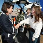 Premier Anna Bligh shakes hands with Georgie Henley