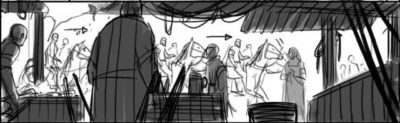 Storyboard: Caspian and Bern riding into Narrowhaven (?)