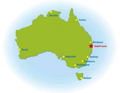 A map of the Gold Coast where VDT will be filmed