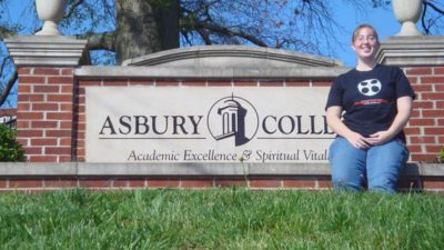 "Me with the Asbury sign—in my ""Highbridge Film Festival"" shirt!"