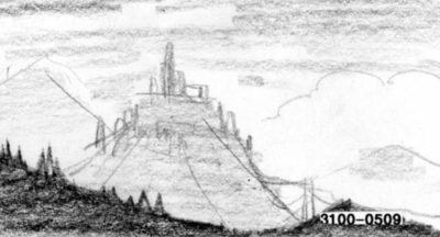 Storyboard: Landscape with mountain, possibly castle