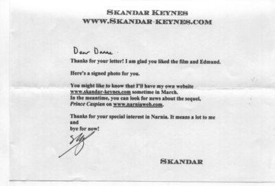 Letter from Skandar