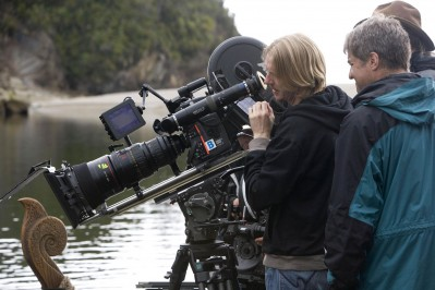 Director Andrew Adamson directs a scene from Prince Caspian.
