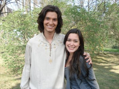 Carla from Disney's Zapping Zone with Ben Barnes on the set of Prince Caspian