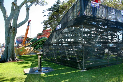 Grandstands Being Installed (Photo by the Bayside Bulletin)