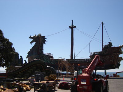 The Dawn Treader, port side, with the second mast attached and rigging.