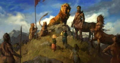 Pevensies meeting Aslan Concept Art