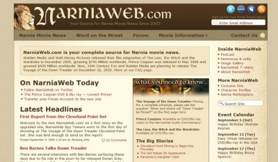 The new look for NarniaWeb.com